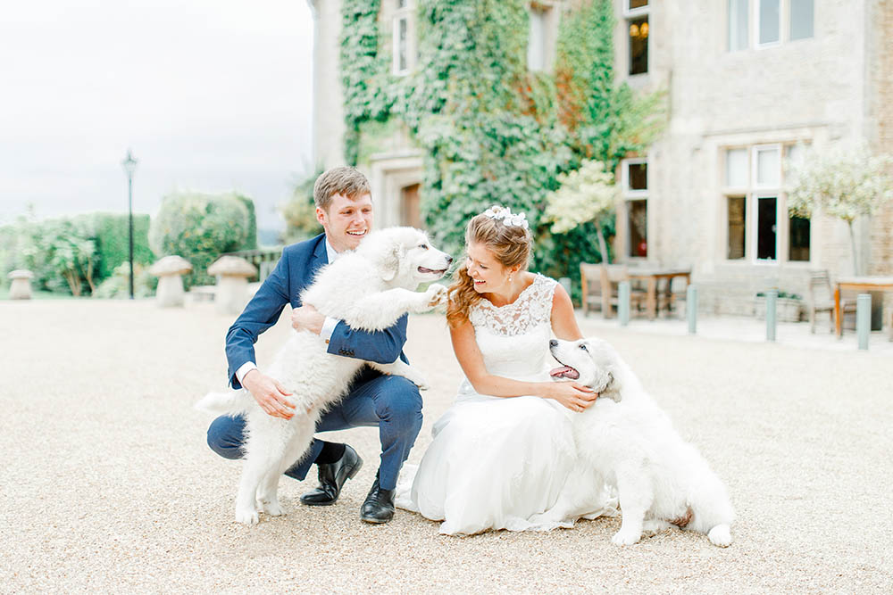 Natural, relaxed light & airy fine art wedding photography kent, surrey, cotswolds, uk - Puppies at wedding at Hyde House, UK